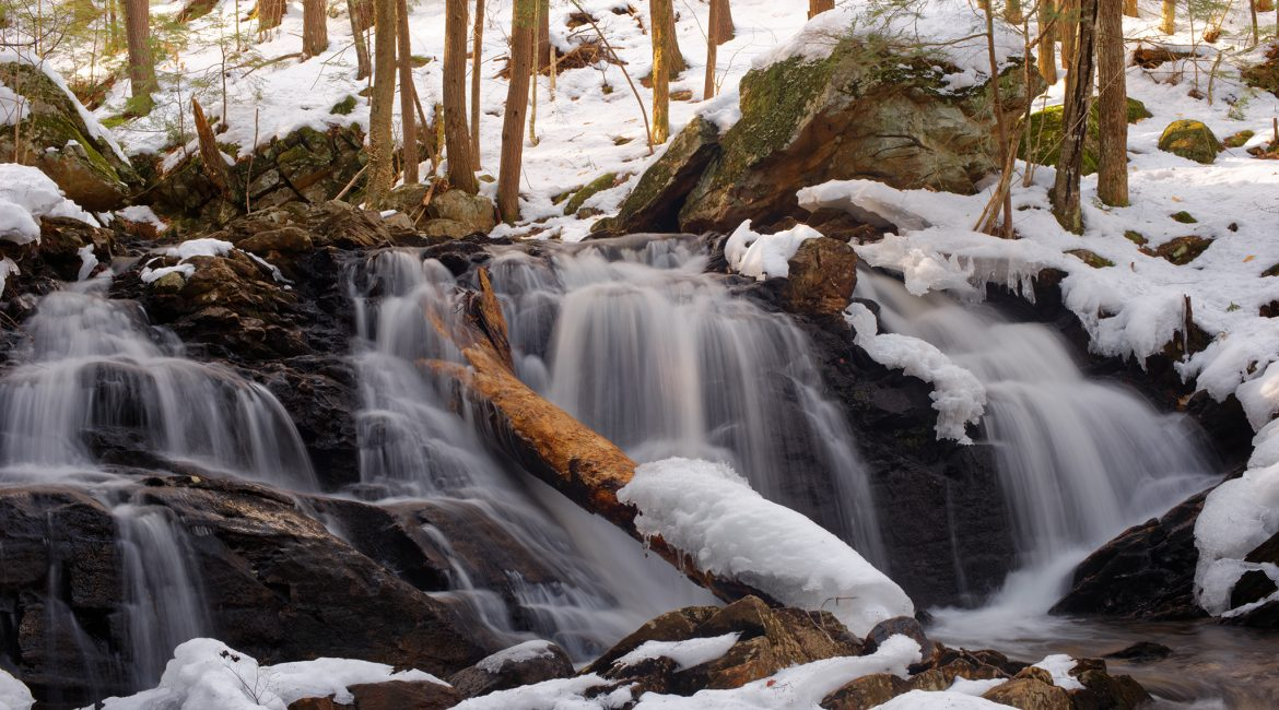Senter Falls & Lower Purgatory Falls in Spring Snow