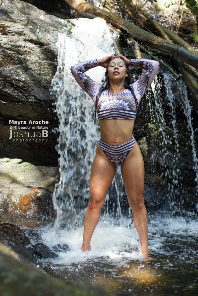 latina bikini fitness model waterfall