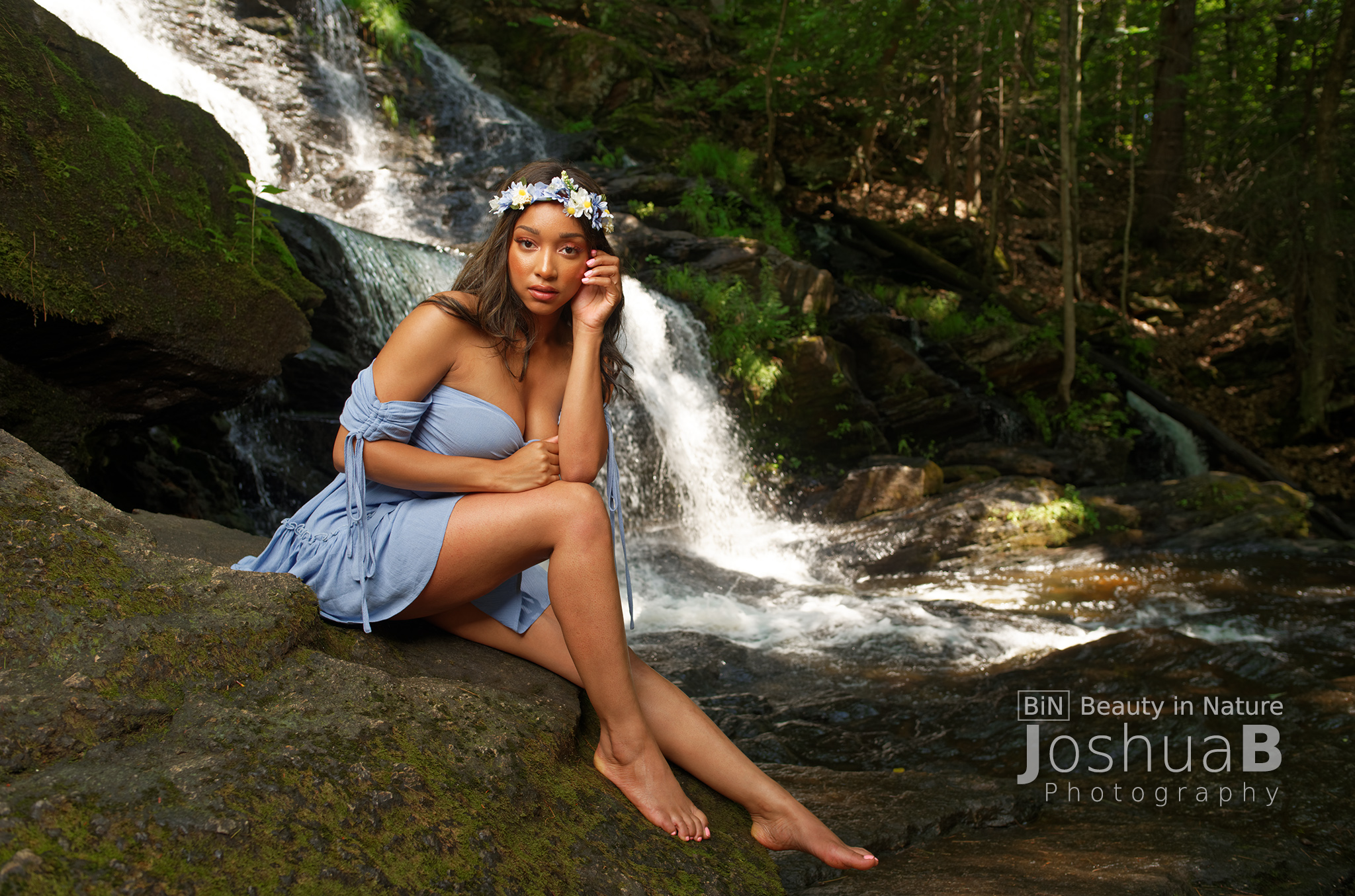 goddess in blue dress waterfall