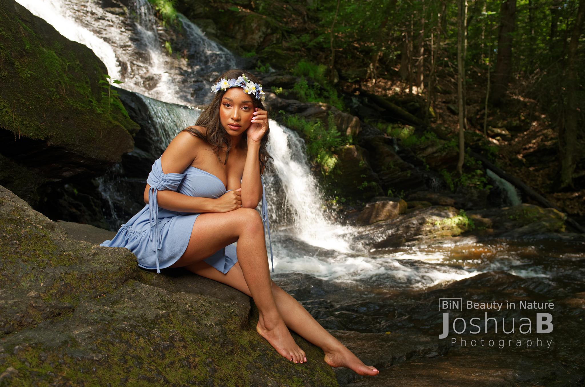 goddess in blue dress waterfall