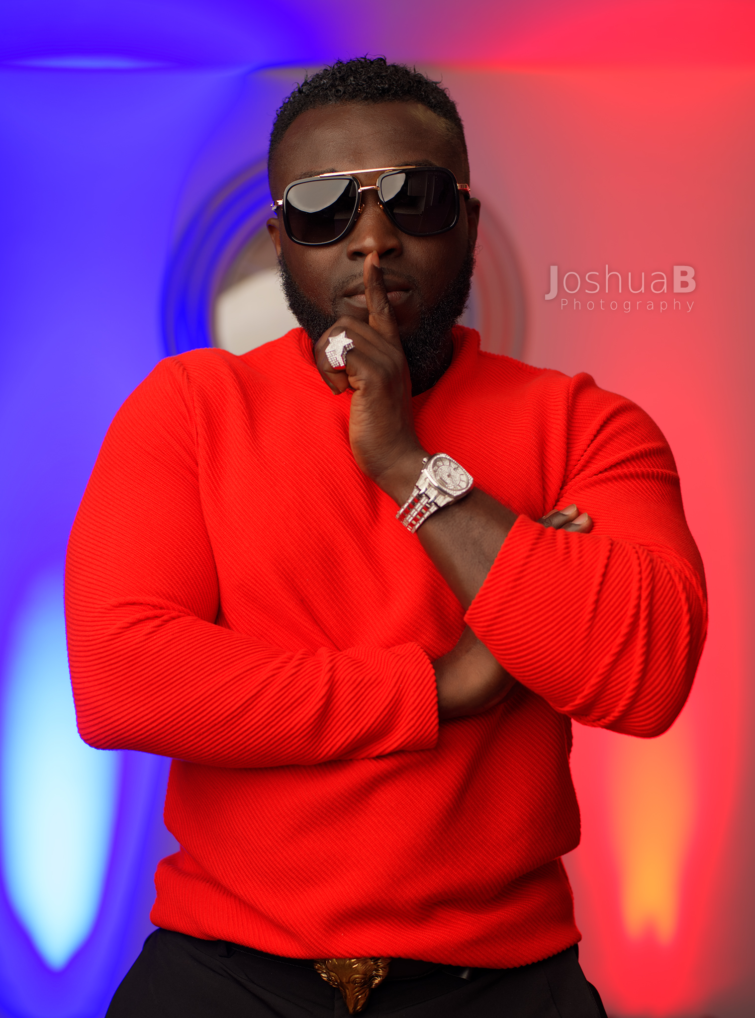 DJ Wyse with sunglasses in red