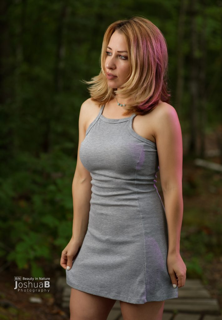 Kate Eppers blonde model in gray dress